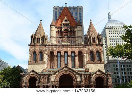 Boston Trinity Church in Copley Square, USA