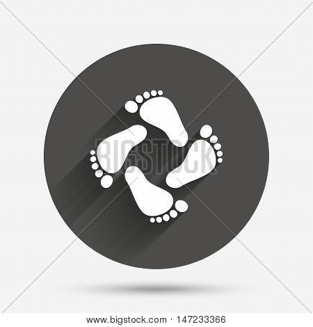 Baby footprints icon. Child barefoot steps. Toddler feet symbol. Circle flat button with shadow. Vector poster