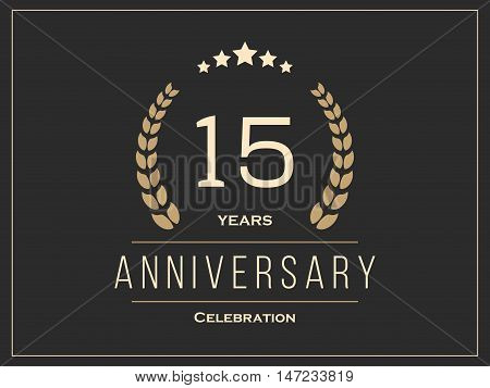 Fifteen years anniversary celebration logotype. 15th anniversary logo. Vector illustration.