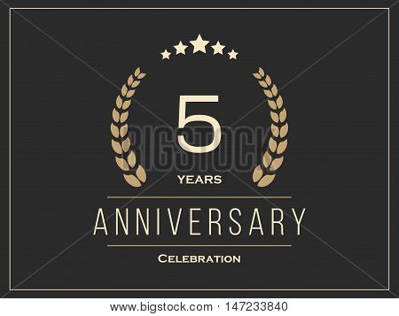 Five years anniversary celebration logotype. 5th anniversary logo. Vector illustration.
