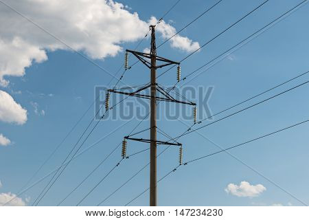 High-voltage electricity transmission tower on the electric substation