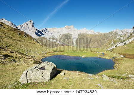 Peaks and Ansabere Lake. Lescun Cirque. Aspe Valley, Pyrenees, France.