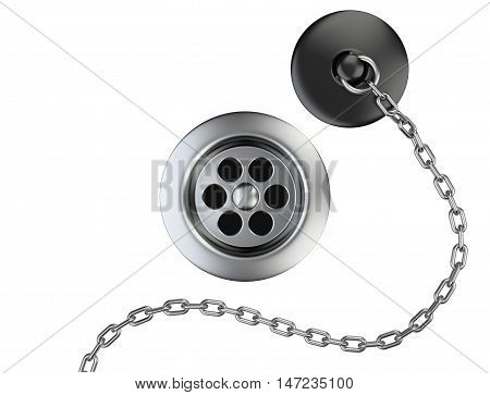 Stainless steel sink drain and rubber plug with chain on a white. 3d illustration.