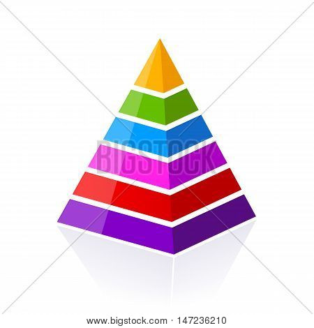 6 part layered pyramid vector illustration isolated on white background