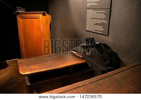 POLAND, KRAKOW - MAY 27, 2016: Exhibition on the theme of life Krakow Jews during the Second World War. Schindler's Factory Museum in Krakow.