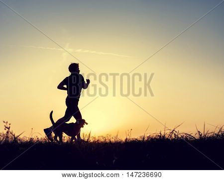 Runner and dog silhouttes in sunset light