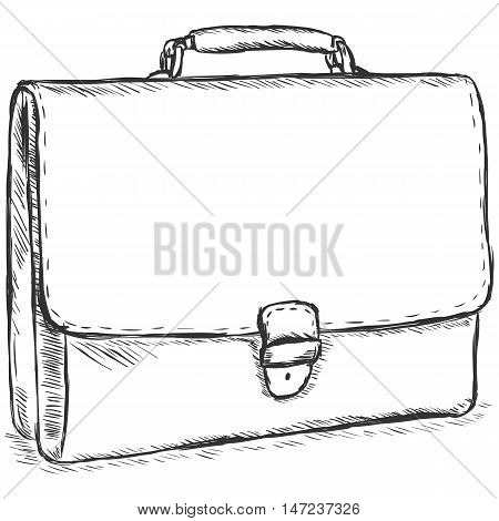 Vector Sketch Illustration - Leather Briefcase