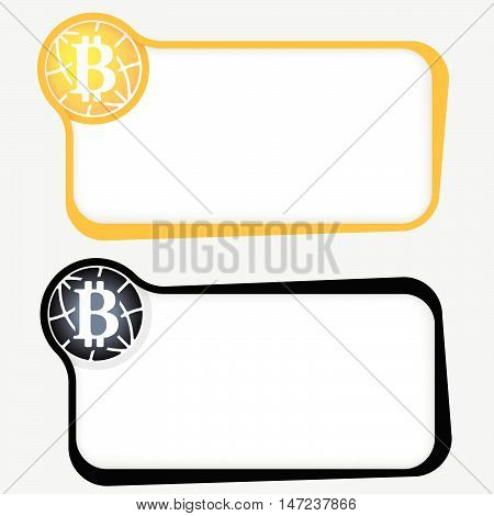Set of two vector text frames and bit coin