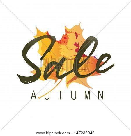 Sale autumn lettering. Sale autumn inscription isolated on white background with colorful maple leaf silhouette. Calligraphy can be used for postcard, flier, banner