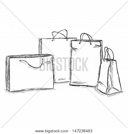 Vector Sketch Illustration - Four Shopping Bags