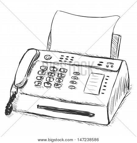 Vector Sketch Illustration - Telefax
