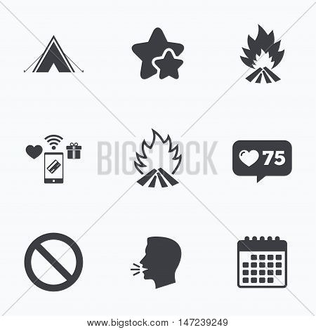 Tourist camping tent icon. Fire flame and stop prohibition sign symbols. Flat talking head, calendar icons. Stars, like counter icons. Vector