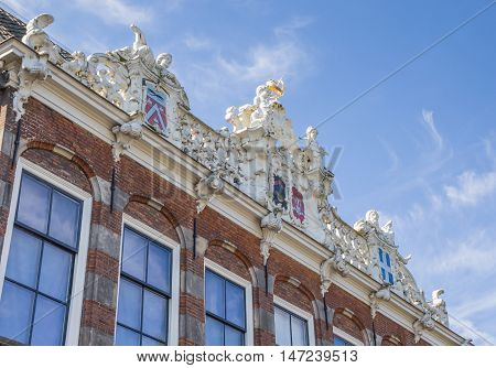 Decorated gable of an old building in Zwolle Netherlands