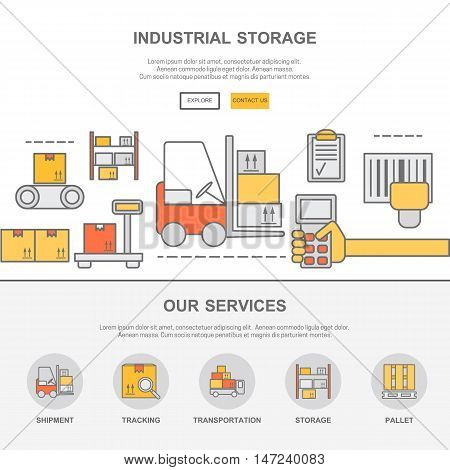Web design template with thin line icons of warehouse stock and industrial storage. Flat design graphic image concept, website elements layout.