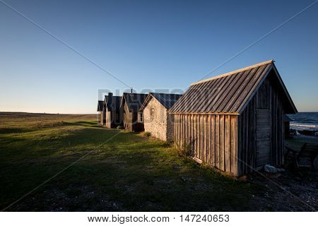 At Faro an island at Gotland Sweden there is a very old small village of fishermens cabins. This is called Helgumannen.