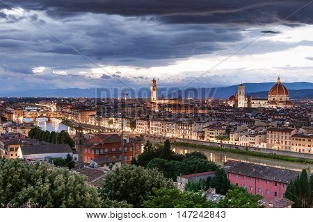 Florence (Italian: Firenze alternative obsolete form: Fiorenza; Latin: Florentia) is the capital city of the Italian region of Tuscany and of the province of Florence. Travel destination. poster