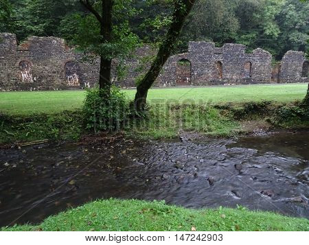 Ironworks ruin and river photographed at Stepaside in Pembrokeshire