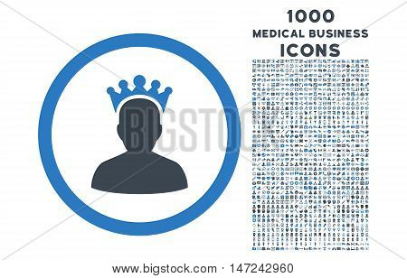 King rounded vector bicolor icon with 1000 medical business icons. Set style is flat pictograms, smooth blue colors, white background.