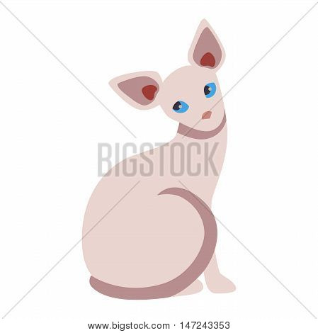 Egyptian cat cartoon style vector silhouette. Cute domestic cat animal sitting. Cartoon egyptian cat young adorable tail symbol playful. Cartoon funny domestic pussy egyptian kitty cat sit character