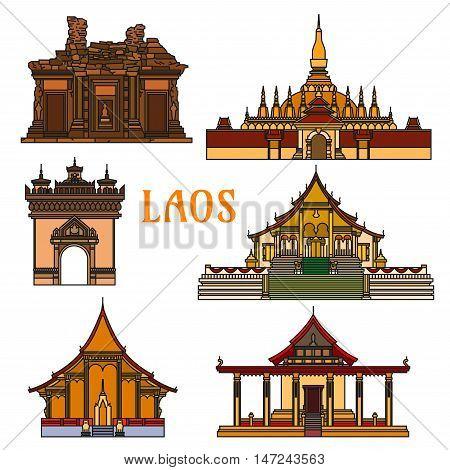 Historic buildings of Laos. Pha That Luang, Sisaket, Vat Phou, Patuxai Arch, Wat Xieng Thong, Vat Sene Souk Haram. Vientiane showplaces icons for souvenirs, postcards, t-shirts