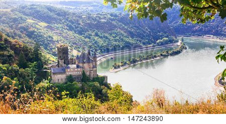 Romantic castles - Rhine valley. Scenery of Germany. View of Kat