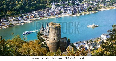 Beautiful romantic castles of Rhein river .view of Katz castle a