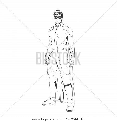 Comic superhero standing heroicly. Vector EPS8 illustration.