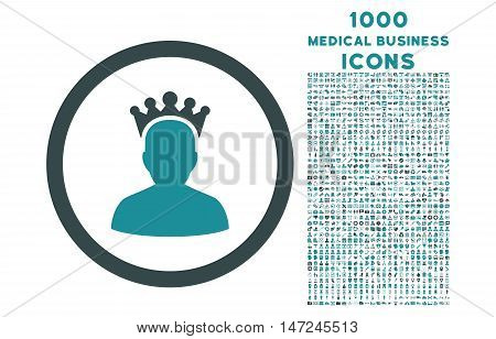 King rounded vector bicolor icon with 1000 medical business icons. Set style is flat pictograms, soft blue colors, white background.