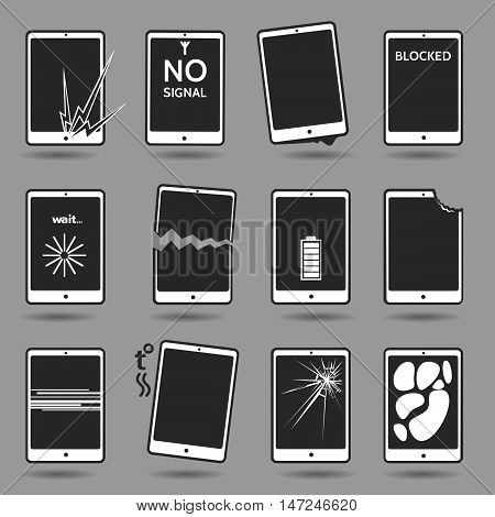 Set of damaged mobile phones. Cracked screen broken case water damage software error weak battery overheating lost password blocking dog bite connection error. Vector illustration.