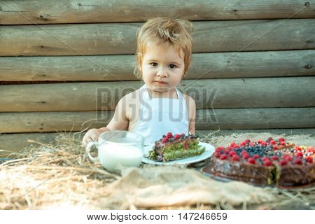 Little Boy With Fruit Cake