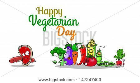 World Vegetarian Day Poster with cartoon characters. Vegetables versus meat. Angry pursuers hunt tearful steak. Isolated objects - top stock vector