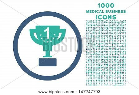 First Prize Cup rounded vector bicolor icon with 1000 medical business icons. Set style is flat pictograms, cobalt and cyan colors, white background.