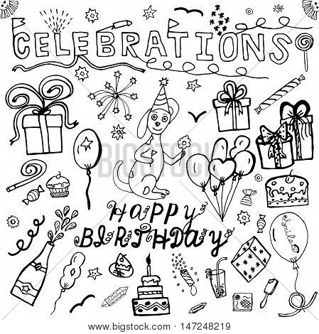 Vector hand drawing set about Happy Birthday. Celebration sketch collection. Hand drawn vector doodles. Birthday sketch elements. Kids doddles for holiday. Isolated icons. Vector illustration.