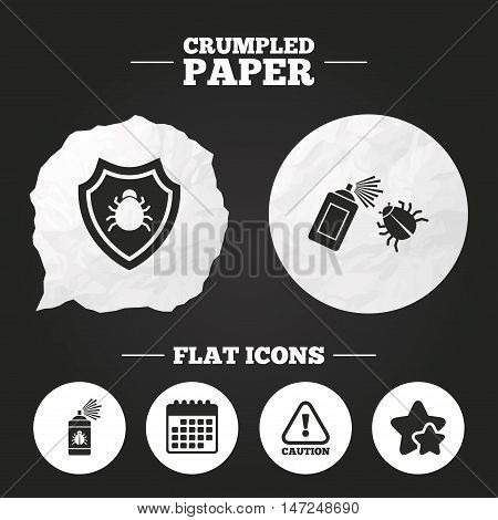 Crumpled paper speech bubble. Bug disinfection icons. Caution attention and shield symbols. Insect fumigation spray sign. Paper button. Vector poster