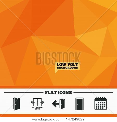 Triangular low poly orange background. Automatic door icon. Emergency exit with arrow symbols. Fire exit signs. Calendar flat icon. Vector