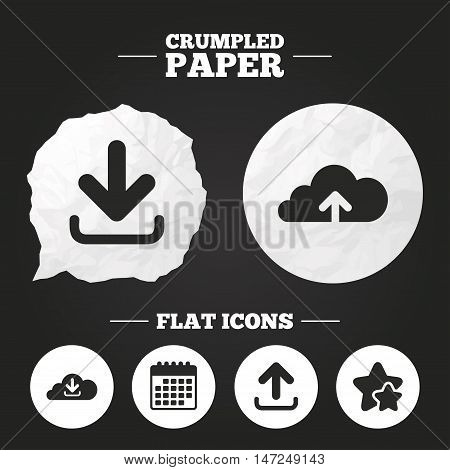 Crumpled paper speech bubble. Download now icon. Upload from cloud symbols. Receive data from a remote storage signs. Paper button. Vector