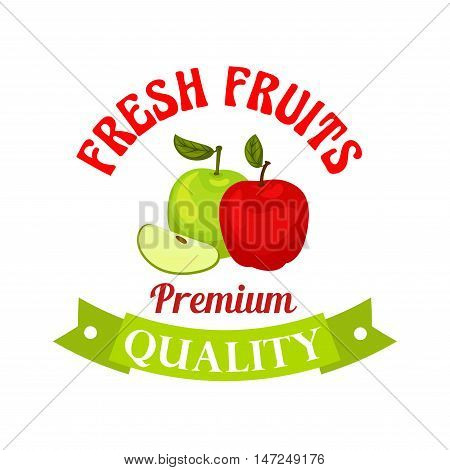 Fresh red and green apples poster. Premium quality apple vector icon for juice bottle sticker, grocery, farm store, packaging and advertising