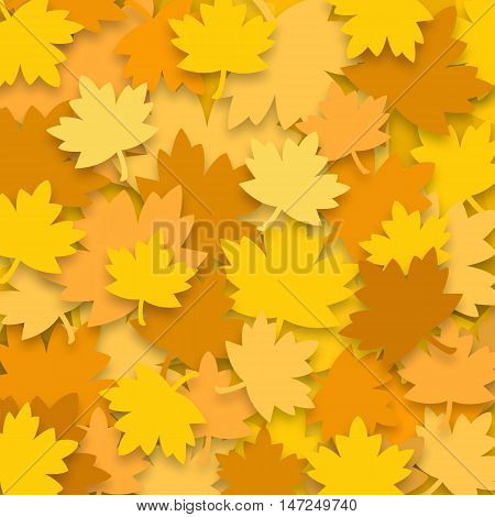 Yellow autumn leaves on the ground, bright square background