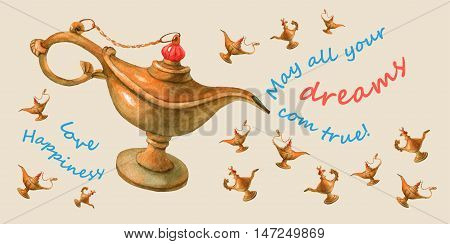 Hand watercolor illustration of magical Aladdin's genie lamp. Pale yellow background