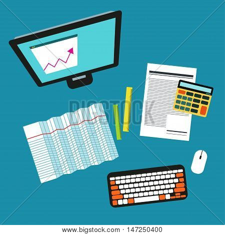 Bookkeeper Vector illustration Desktop of accountant: a computer, a calculator, rulers, account and graphics Top view Flat design