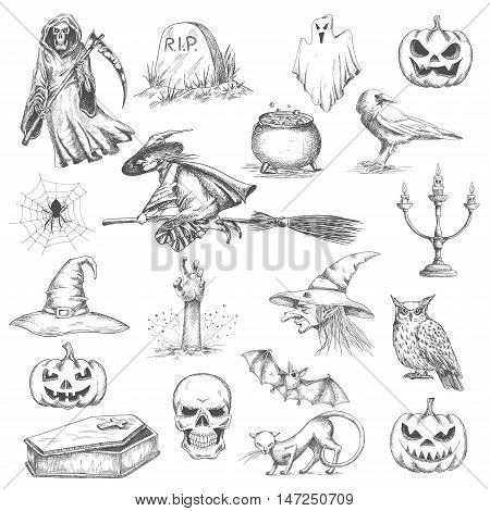 Halloween pencil sketch decorative icons. Vector isolated design elements of witch in hat flying on besom, frightening pumpkin, death with scythe, tomb stone, bedsheet ghost, coffin, evil skull with scary smile