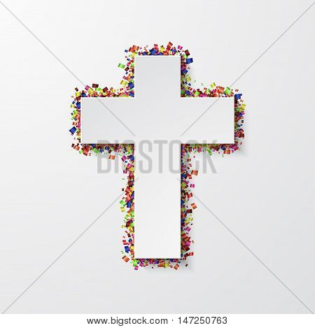 Vector modern cross with confetti on white background