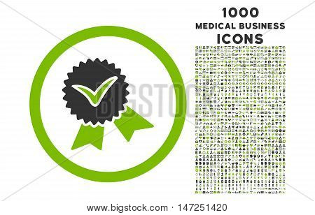Validation Seal rounded vector bicolor icon with 1000 medical business icons. Set style is flat pictograms, eco green and gray colors, white background.