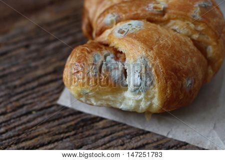 closeup moldy bread on wood table ,white moldy.
