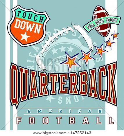 american football sport vector for T-shirt printed and poster