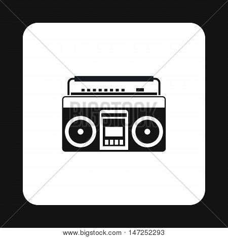 Boombox or radio cassette tape player icon in simple style on a white background vector illustration