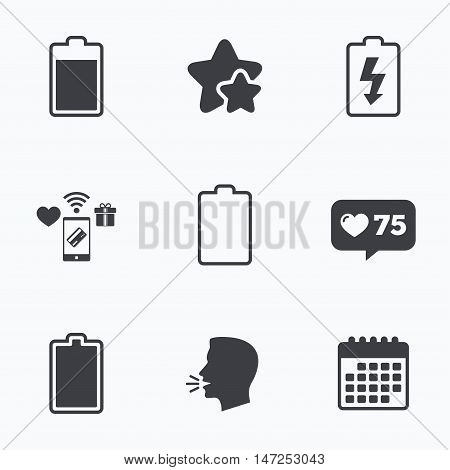 Battery charging icons. Electricity signs symbols. Charge levels: full, empty. Flat talking head, calendar icons. Stars, like counter icons. Vector