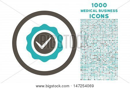Valid rounded vector bicolor icon with 1000 medical business icons. Set style is flat pictograms, grey and cyan colors, white background.