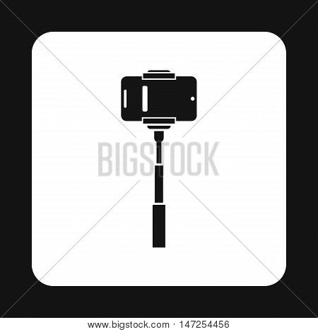 Smartphone on a selfie stick icon in simple style on a white background vector illustration