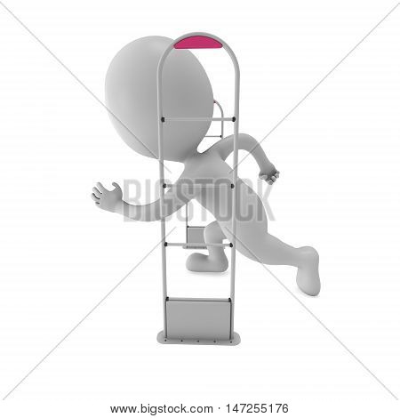 3D shoplifter scanner and running man isolated on white background. Scanner entrance gate for prevent theft in shop or store. Security concept. poster